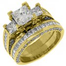 3.5 CARAT DIAMOND ENGAGEMENT RING WEDDING BAND SET SQUARE 3-STONE YELLOW GOLD