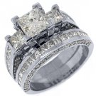 3.5 CARAT DIAMOND ENGAGEMENT RING WEDDING BAND SET SQUARE 3-STONE WHITE GOLD