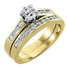 1.5CT WOMENS DIAMOND ENGAGEMENT RING WEDDING BAND BRIDAL SET SQUARE YELLOW GOLD