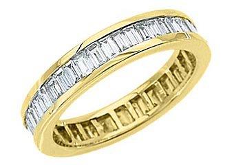 WOMENS DIAMOND ETERNITY BAND WEDDING RING BAGUETTE CUT 2.5 CARATS YELLOW GOLD
