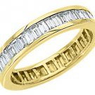 WOMENS DIAMOND ETERNITY BAND WEDDING RING BAGUETTE CUT 2.5 CARATS YELLOW GOLD
