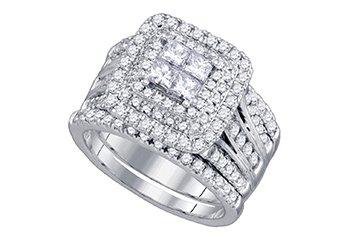 WOMENS DIAMOND ENGAGEMENT HALO RING WEDDING BAND BRIDAL SET PRINCESS CUT 2 CARAT
