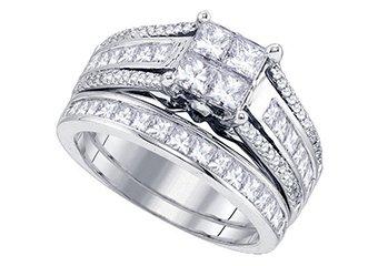 WOMENS DIAMOND ENGAGEMENT RING WEDDING BAND BRIDAL SET PRINCESS CUT 1.9 CARAT