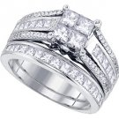 WOMENS DIAMOND ENGAGEMENT RING WEDDING BAND BRIDAL SET PRINCESS CUT 1.9 CARAT
