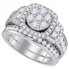 WOMENS DIAMOND ENGAGEMENT HALO RING WEDDING BAND BRIDAL SET ROUND CUT 2 CARATS