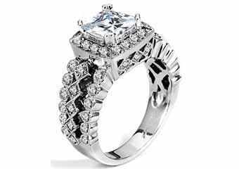 WOMENS DIAMOND ENGAGEMENT HALO RING PRINCESS CUT 1.62 CARAT 14K WHITE GOLD