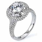 WOMENS DIAMOND ENGAGEMENT HALO RING ROUND SHAPE CUT 2.10 CARAT 14K WHITE GOLD