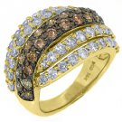 WOMENS  BROWN CHAMPAGNE DIAMOND WEDDING BAND RING 14KT YELLOW GOLD