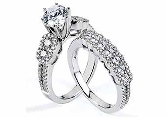 WOMENS DIAMOND ENGAGEMENT RING WEDDING BAND BRIDAL SET ROUND CUT 2.16 CARAT
