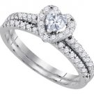 HEART SHAPE DIAMOND HALO ENGAGEMENT RING WEDDING BAND BRIDAL SET 14KT WHITE GOLD