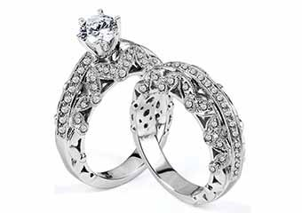 WOMENS DIAMOND ENGAGEMENT RING WEDDING BAND BRIDAL SET ROUND CUT 2.11 CARAT