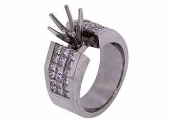 1.92 CARAT WOMENS DIAMOND ENGAGEMENT RING SEMI-MOUNT PRINCESS CUT WHITE GOLD