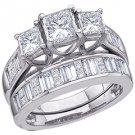 WOMENS DIAMOND ENGAGEMENT 3-STONE RING WEDDING BAND BRIDAL SET PRINCESS CUT