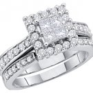 WOMENS DIAMOND ENGAGEMENT HALO RING WEDDING BAND BRIDAL SET PRINCESS CUT 1.5CT