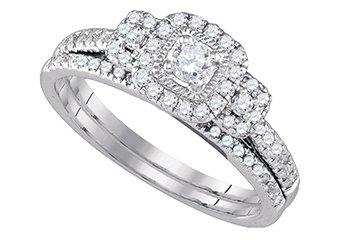 WOMENS DIAMOND ENGAGEMENT HALO RING WEDDING BAND BRIDAL SET ROUND CUT .51 CARATS