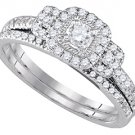 WOMENS DIAMOND ENGAGEMENT HALO RING WEDDING BAND BRIDAL SET ROUND CUT .51 CARATS