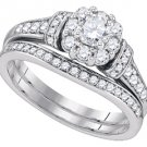 WOMENS DIAMOND ENGAGEMENT HALO CLUSTER RING WEDDING BAND BRIDAL SET ROUND CUT