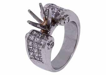 2.18 CARAT WOMENS DIAMOND ENGAGEMENT RING SEMI-MOUNT PRINCESS CUT WHITE GOLD