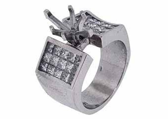 2.58 CARAT WOMENS DIAMOND ENGAGEMENT RING SEMI-MOUNT PRINCESS CUT WHITE GOLD