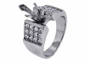 1.38 CARAT WOMENS DIAMOND ENGAGEMENT RING SEMI-MOUNT PRINCESS CUT WHITE GOLD