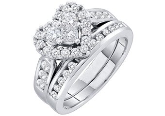 WOMENS HEART SHAPE DIAMOND ENGAGEMENT HALO RING WEDDING BAND BRIDAL SET