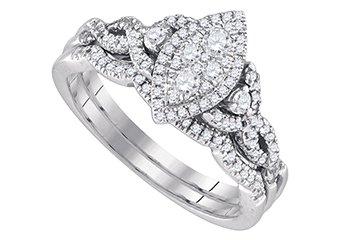 WOMENS DIAMOND ENGAGEMENT PROMISE RING WEDDING BAND BRIDAL SET MARQUISE SHAPE