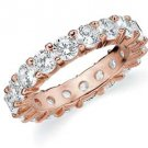 DIAMOND ETERNITY BAND WEDDING RING ROUND SHARED PRONG 14K ROSE GOLD 4 CARATS