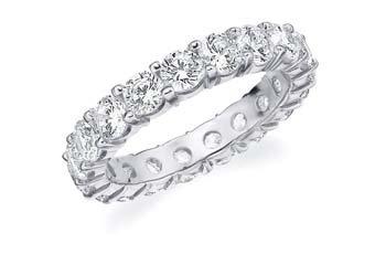 DIAMOND ETERNITY BAND WEDDING RING ROUND SHARED PRONG 14K WHITE GOLD 3 CARATS