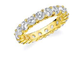 DIAMOND ETERNITY BAND WEDDING RING ROUND SHARED PRONG 14K YELLOW GOLD 3 CARATS