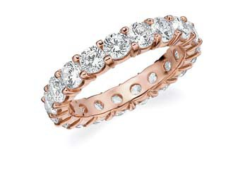 DIAMOND ETERNITY BAND WEDDING RING ROUND SHARED PRONG 14K ROSE GOLD 3 CARATS