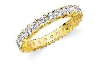 DIAMOND ETERNITY BAND WEDDING RING ROUND SHARED PRONG 14K YELLOW GOLD 2 CARATS