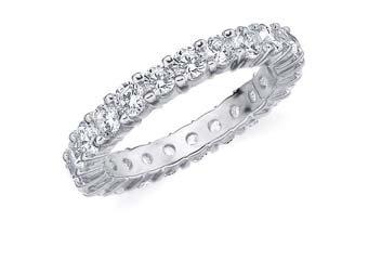 DIAMOND ETERNITY BAND WEDDING RING ROUND SHARED PRONG 14K WHITE GOLD 2 CARATS