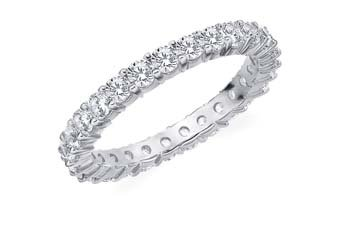 DIAMOND ETERNITY BAND WEDDING RING ROUND SHARED PRONG 14K WHITE GOLD 1.5 CARAT