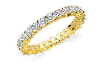 DIAMOND ETERNITY BAND WEDDING RING ROUND SHARED PRONG 14K YELLOW GOLD 1.5 CARAT