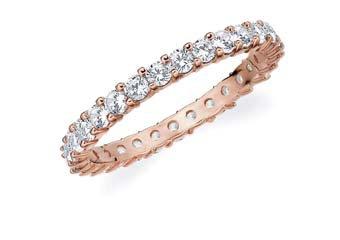 DIAMOND ETERNITY BAND WEDDING RING ROUND SHARED PRONG 14K ROSE GOLD 1 CARAT