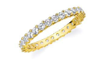 DIAMOND ETERNITY BAND WEDDING RING ROUND SHARED PRONG 14K YELLOW GOLD 1 CARAT
