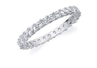 DIAMOND ETERNITY BAND WEDDING RING ROUND SHARED PRONG 14K WHITE GOLD 1 CARAT
