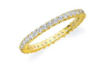 DIAMOND ETERNITY BAND WEDDING RING ROUND SHARED PRONG 14K YELLOW GOLD .50 CARAT