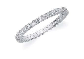 DIAMOND ETERNITY BAND WEDDING RING ROUND SHARED PRONG 14K WHITE GOLD .50 CARAT