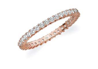 DIAMOND ETERNITY BAND WEDDING RING ROUND SHARED PRONG 14K ROSE GOLD .50 CARAT