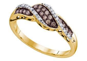 WOMENS CHAMPAGNE COGNAC BROWN DIAMOND RING WEDDING BAND YELLOW GOLD