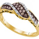 WOMENS CHAMPAGNE COGNAC BROWN DIAMOND RING WEDDING BAND YELLOW GOLD