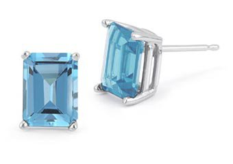 BLUE TOPAZ STUD EARRINGS EMERALD CUT 4x6mm 14KT WHITE GOLD DECEMBER BIRTH STONE