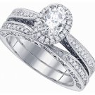WOMENS DIAMOND ENGAGEMENT PROMISE HALO RING WEDDING BAND BRIDAL SET OVAL SHAPE