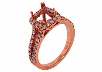 .68 CARAT WOMENS DIAMOND HALO ENGAGEMENT RING SEMI-MOUNT ROUND CUT ROSE GOLD