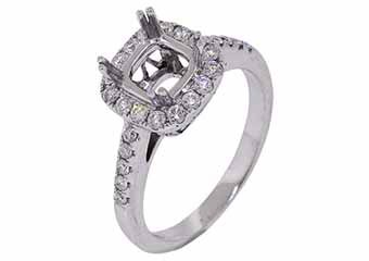 .45 CARAT WOMENS DIAMOND HALO ENGAGEMENT RING SEMI-MOUNT ROUND CUT WHITE GOLD