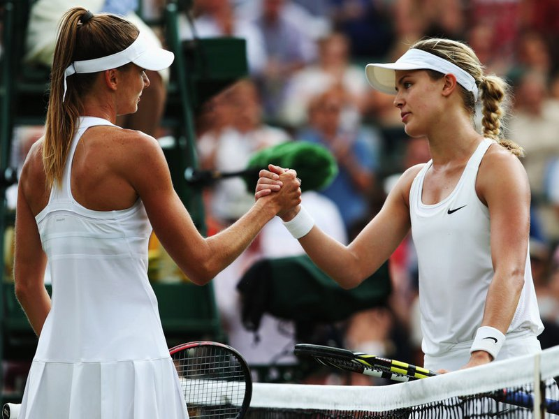 016 - 8 X 6 Photo - Tennis - Wimbledon Championship 2014 - Day 2 - Eugenie Bouchard & Hantuchova