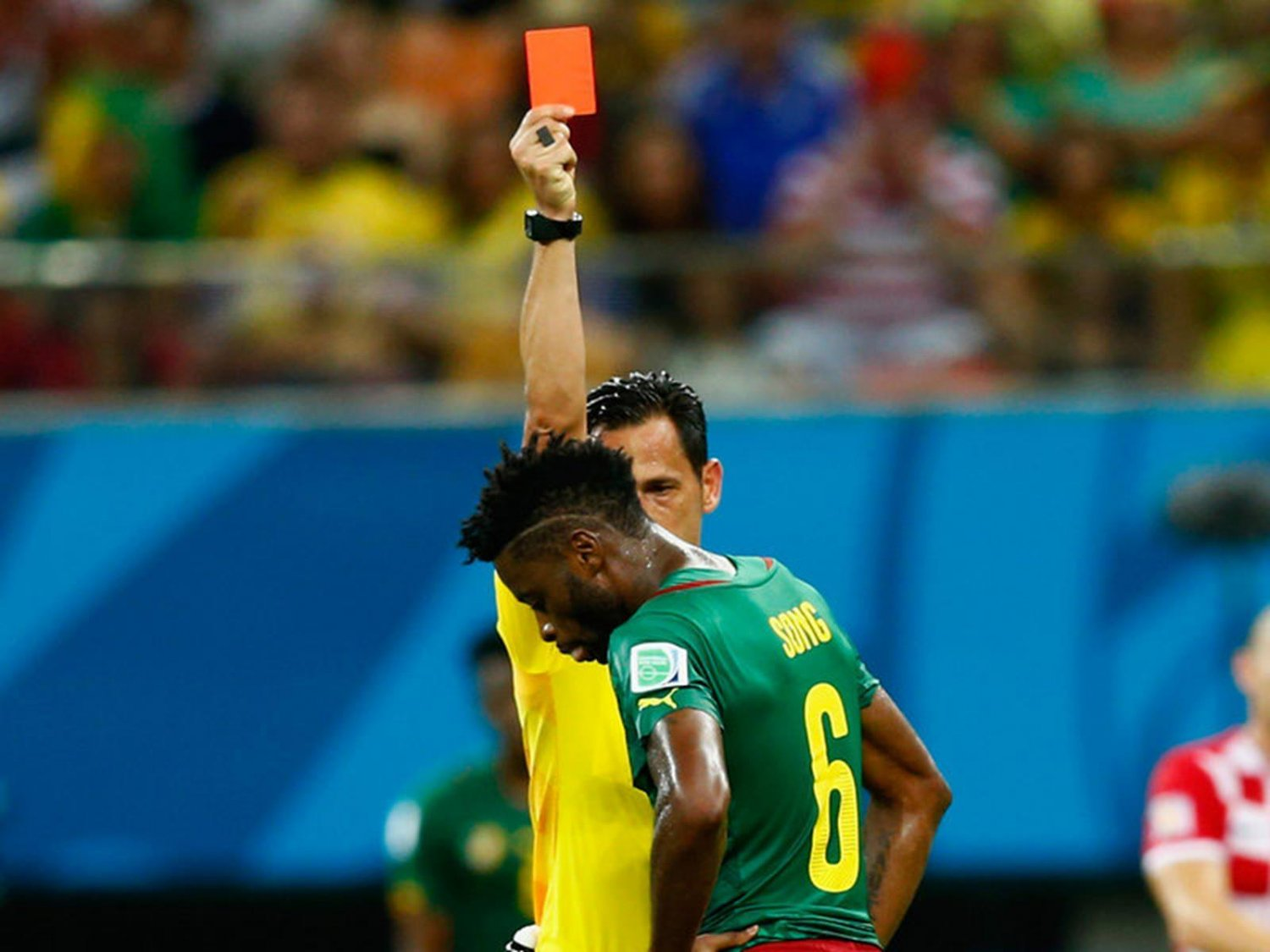 WC 0142 - 8 X 6 Photo - Football - FIFA World Cup 2014 - Cameroon V Crotia -   Alex  Song  Red  Card