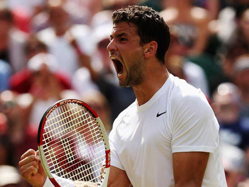 107 - 8 X 6 Photo - Tennis - Wimbledon Championship 2014 - Day 9 - Grigor Dimitrov Celebrates