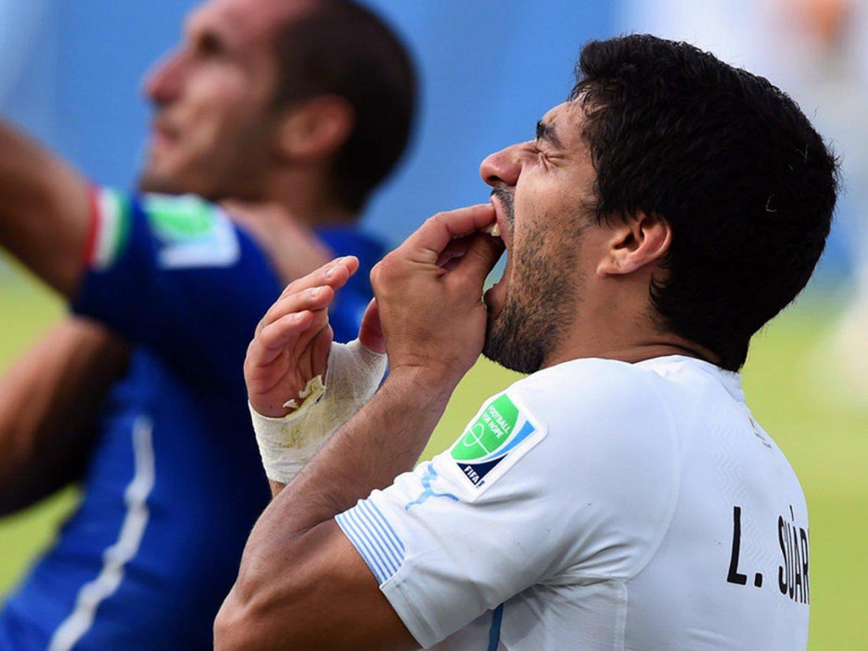 350 -  8 X 6 Photo - Football - FIFA World Cup 2014 - Chellini & Suarez